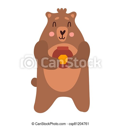 Cute bear cartoon hand drawn vector illustration in flat style with a jar of honey. Can be used for printing on t-shirts, children s clothing, children s invitation cards. Good brown grizzly - csp81204761