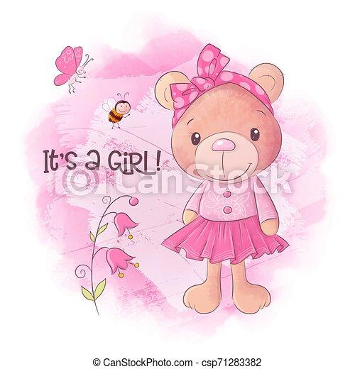 Cute bear cartoon hand drawn vector illustration - csp71283382