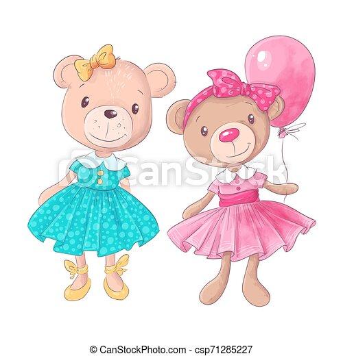 Cute bear cartoon hand drawn vector illustration - csp71285227