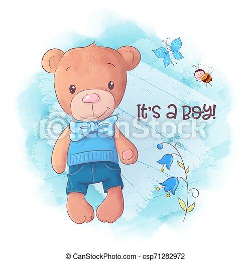 Cute bear cartoon hand drawn vector illustration - csp71282972