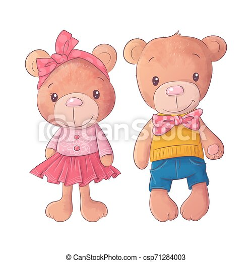 Cute bear cartoon hand drawn vector illustration - csp71284003