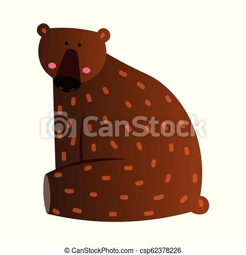 Cute bear cartoon illustration on white board - csp62378226