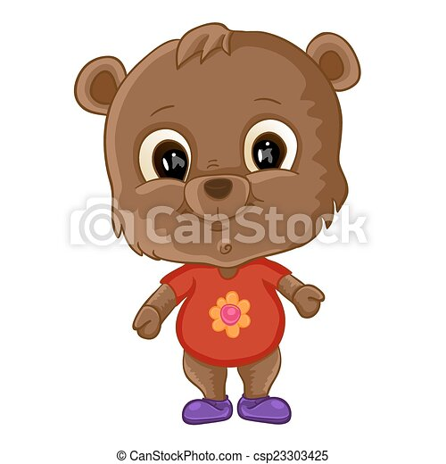Cute bear cartoon - csp23303425