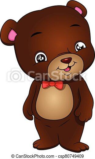 cute bear cartoon on a white background - csp80749409