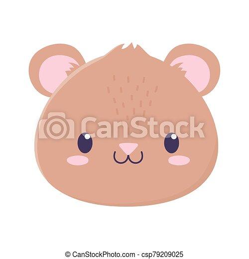 cute bear face animal cartoon isolated icon - csp79209025