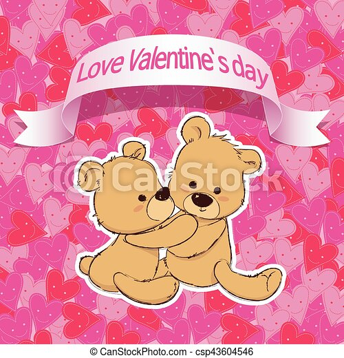 Cute bear for happy valentines day valentine lover cute bear for happy valentines day valentine lover csp43604546 voltagebd Image collections