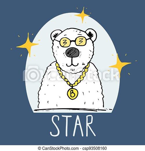 Cute Bear hand drawn sketch, T-shirt print design for kids vector iillustration - csp93508160