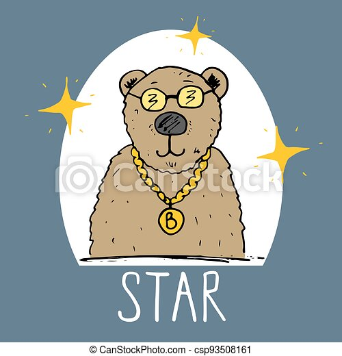 Cute Bear hand drawn sketch, T-shirt print design for kids vector iillustration - csp93508161