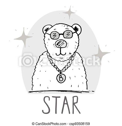 Cute Bear hand drawn sketch, T-shirt print design for kids vector iillustration - csp93508159