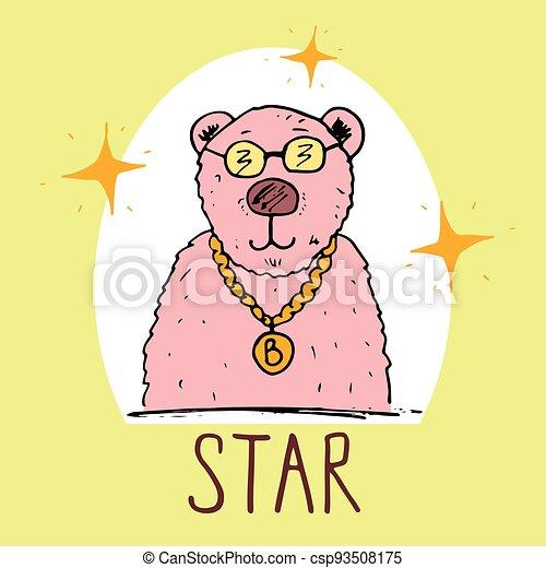Cute Bear hand drawn sketch, T-shirt print design for kids vector iillustration - csp93508175