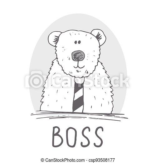 Cute Bear hand drawn sketch, T-shirt print design for kids vector iillustration - csp93508177