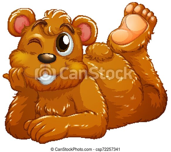 Cute bear on white background - csp72257341
