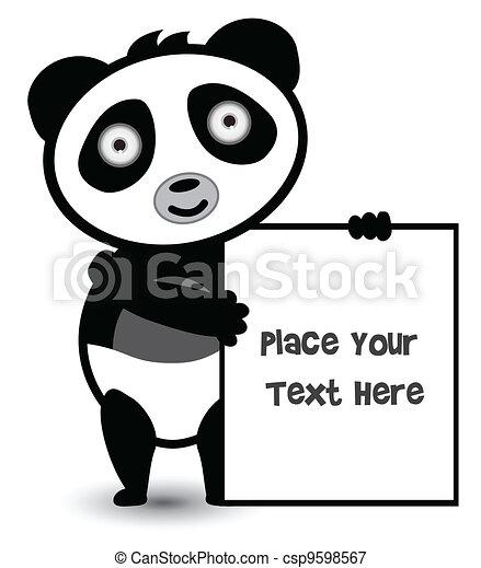 cute bear panda banner - csp9598567