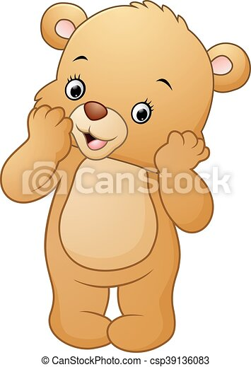 Vector Of Illustration Cute Bear Standing Isolated On White Background