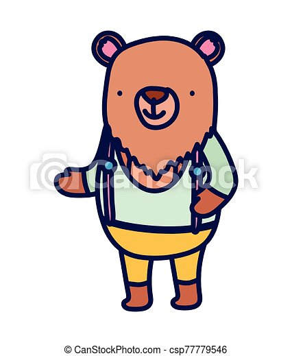 cute bear with clothes cartoon character on white background - csp77779546