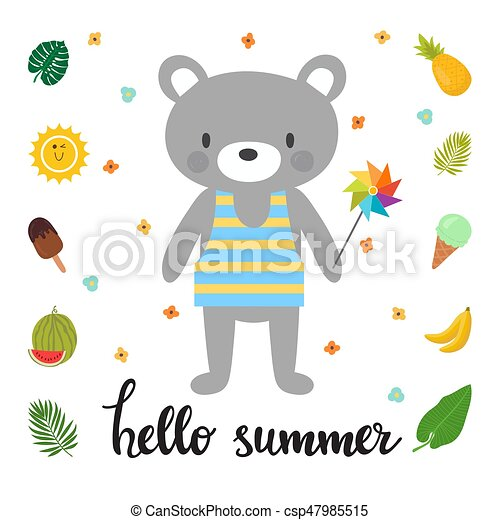 cute bear with windmill hello summer funny greeting card vector rh canstockphoto com diwali greeting card clipart diwali greeting card clipart