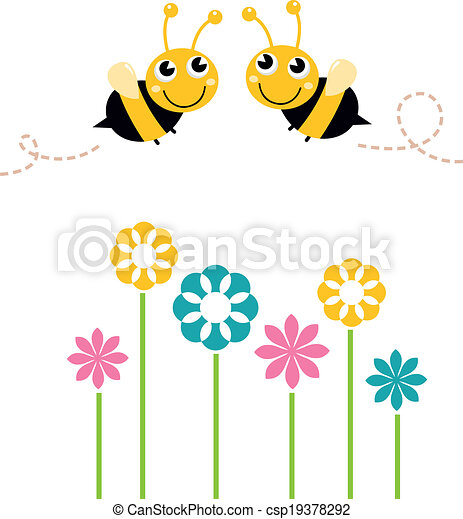 Cute beautiful bees with colorful flowers isolated on white - csp19378292
