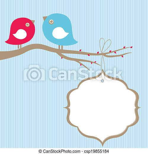 Cute beauty birds on the tree branch - csp19855184