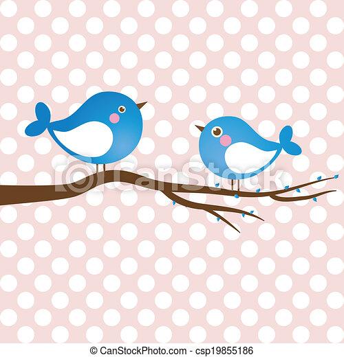 Cute beauty birds on the tree branch - csp19855186
