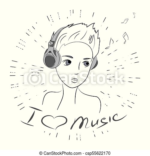 Cute Beauty Teenager I Love Music Stock Vector Illustration