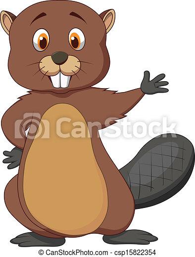 vector illustration of cute beaver cartoon waving rh canstockphoto com canadian beaver cartoon images baby beaver cartoon images