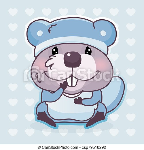 Cute Beaver Kawaii Cartoon Vector Character Adorable Happy And Funny Animal Wearing Pajamas Nightgown Isolated Sticker