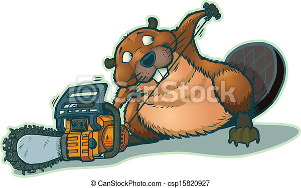 Cute Beaver Strarting Chainsaw - csp15820927