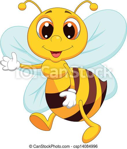 Cute bee cartoon waving - csp14084996