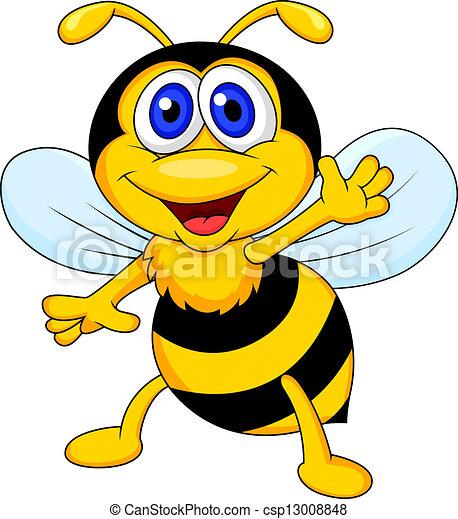 Cute bee cartoon waving - csp13008848