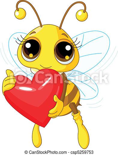 Cute Bee holding Love heart - csp5259753