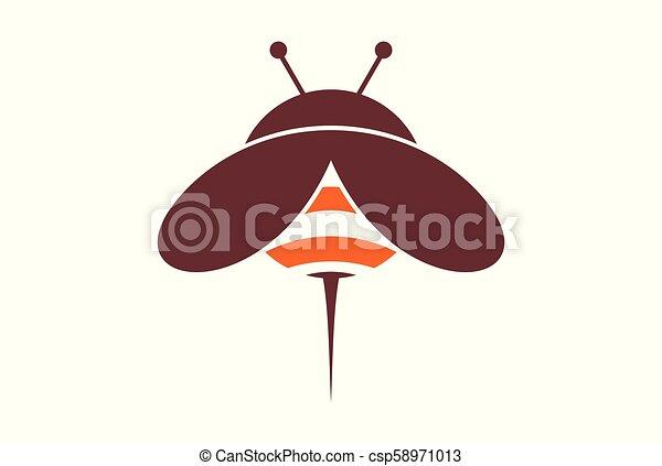 cute bee logo vector concept icon - csp58971013