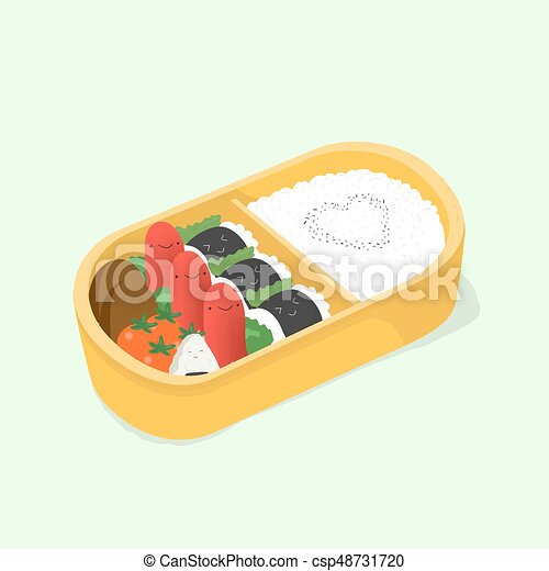 Cute Bento Japanese Lunch Box Funny Cartoon Food Isometric