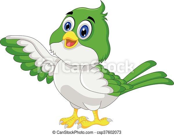 Cute bird cartoon posing - csp37602073