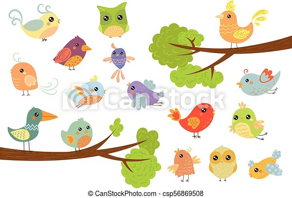 Cute Bird Characters Set Cute Colorful Cartoon Birds Flying Singing Sitting On The Branch Vector Illustrations On A White