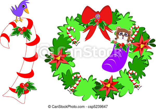 Cute Bird on a Candy Cane and Racco - csp5239647