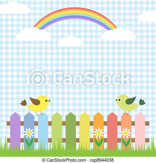 Cute birds and rainbow - csp8944038