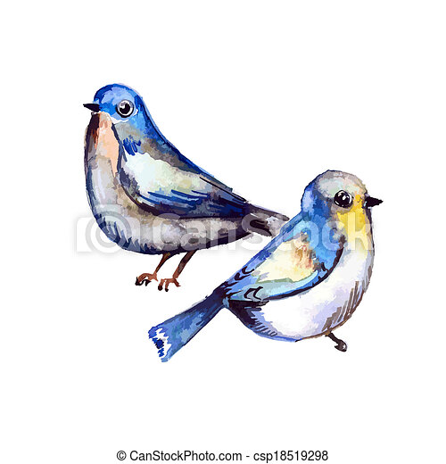 Cute birds for your design. watercolor - csp18519298