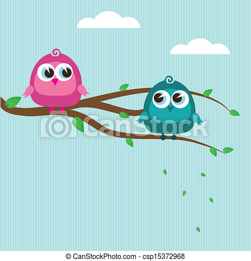 Cute birds on the tree branch - csp15372968
