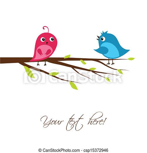 Cute birds on the tree branch - csp15372946