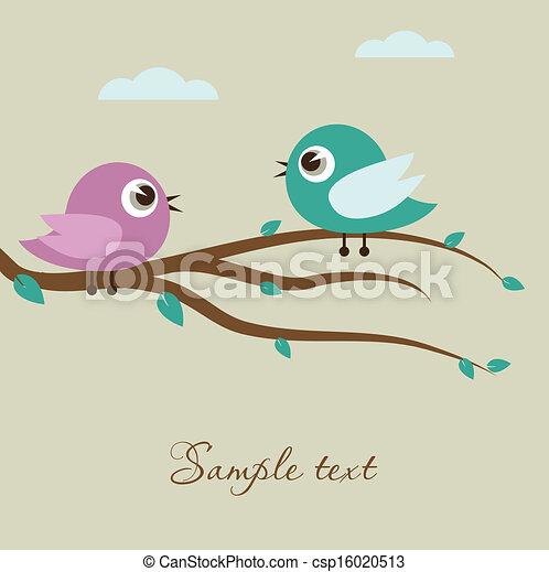 Cute birds on the tree branch - csp16020513