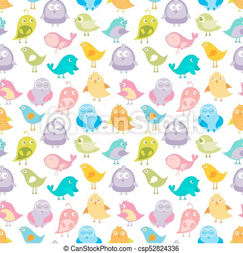 Cute Birds Seamless Pattern Vector Illustration In Soft Pastel Colors Colorful Background Can Be Used For Baby Textile Print Child Cloth Wallpaper