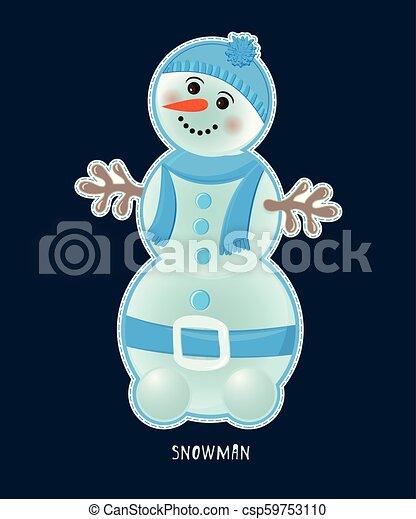 Cute birthday baby sticker with snowman - csp59753110