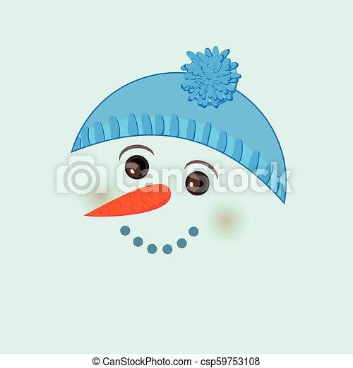Cute birthday baby sticker with snowman - csp59753108