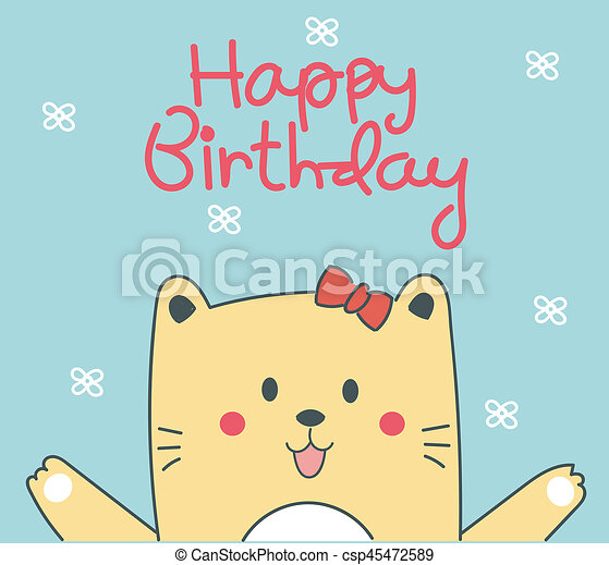 Cute Birthday Card With Cat
