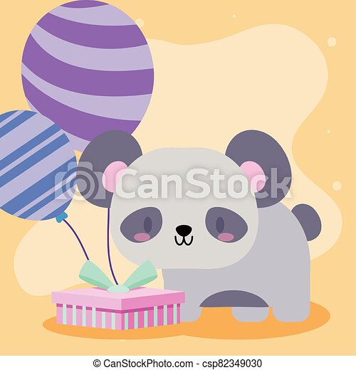 Cute Birthday Card Template With Panda Character Stock Vector -  Illustration of animals, abstract: 135867163