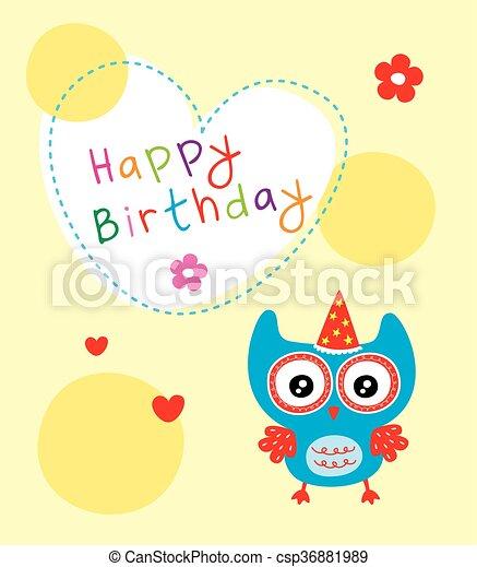 Cute Birthday Owl Card Cute Owl Birthday Greeting Card