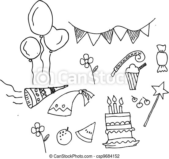 Cute Birthday Party Set Isolated