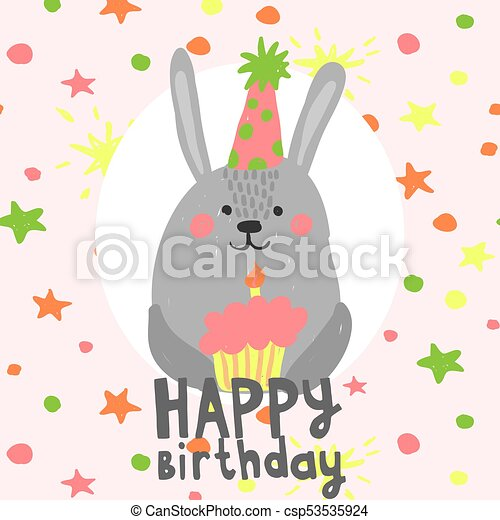 Cute Birthday Rabbit With Little Cake