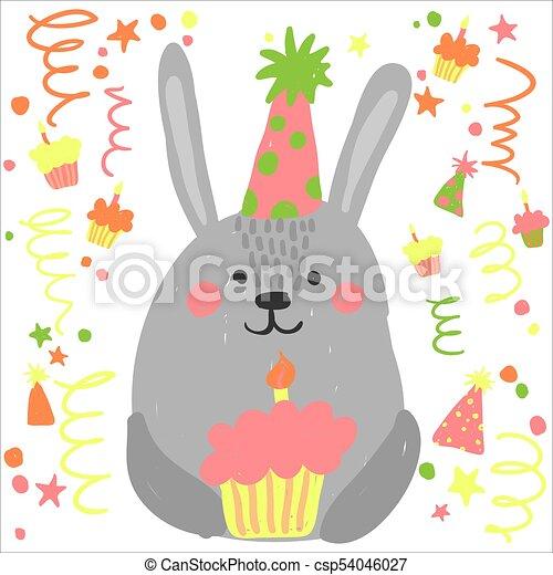 Strange Cute Birthday Rabbit With Little Cake Cute Happy Birthday Card Funny Birthday Cards Online Overcheapnameinfo