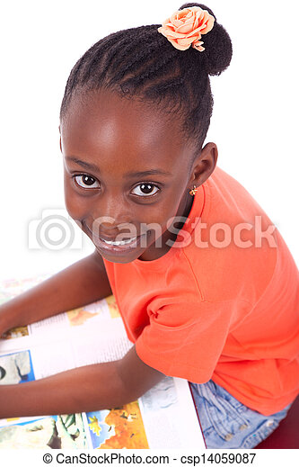 Cute black african american little girl reading a book, isolated on white background - African people - Children - csp14059087